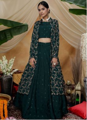 Chinon Embroidered Long Choli Lehenga