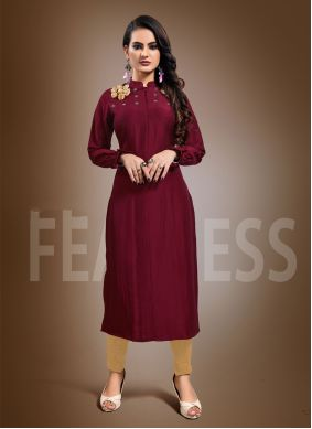 Chinon Embroidered Maroon Party Wear Kurti