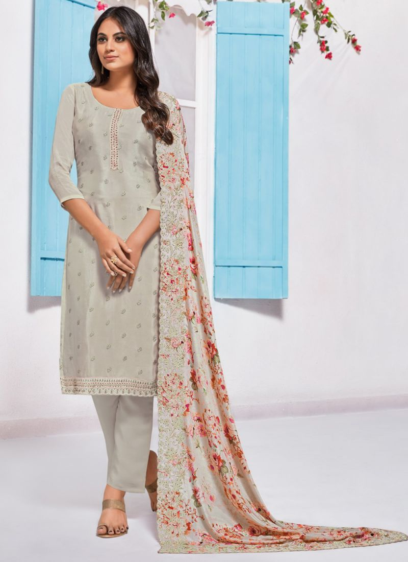 Chinon Embroidered Pant Style Suit