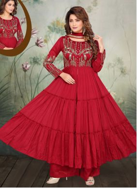 Chinon Maroon Embroidered Anarkali Salwar Suit