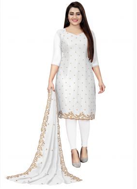 Churidar Designer Suit Embroidered Faux Georgette in Off White