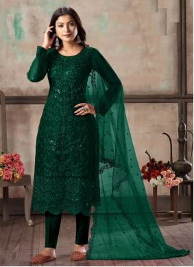 Green Churidar Designer Suit For Ceremonial