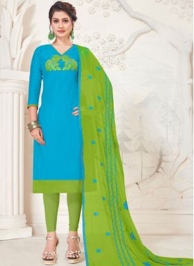 Churidar Salwar Kameez Embroidered Silk in Turquoise