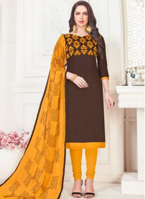 Churidar Suit Embroidered Cotton Satin in Brown