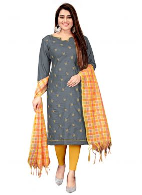 Grey Cotton Churidar Suit For Casual