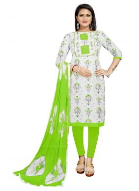 Off White And Green Churidar Suit For Festival