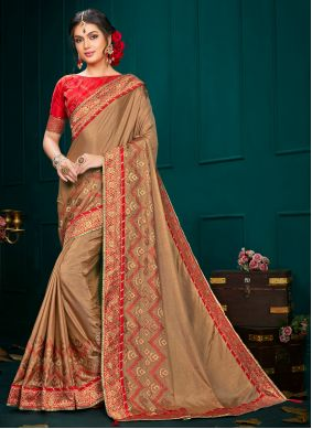 Classic Designer Saree Embroidered Poly Silk in Brown