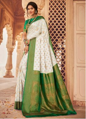 Off White And Green Silk Saree For Festival