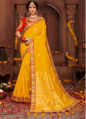 Classic Designer Saree Resham Silk in Yellow