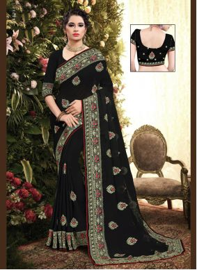 Classic Saree Embroidered Georgette in Black