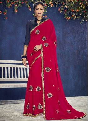 Classic Saree Embroidered Georgette in Hot Pink