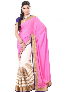 Classic Saree Embroidered Georgette in Pink