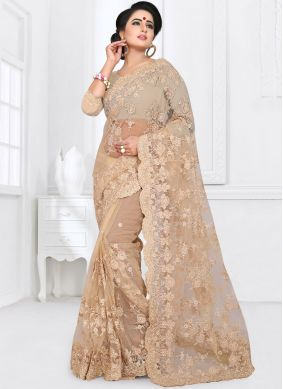 Classic Saree Embroidered Net in Beige