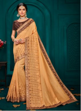 Classic Saree Embroidered Poly Silk in Beige