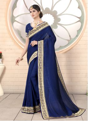 Classic Saree Embroidered Silk in Navy Blue