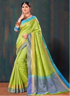 Classic Saree Fancy Cotton in Green