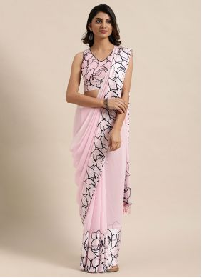 Classic Saree Fancy Faux Georgette in Pink