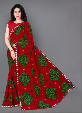 Red Classic Saree For Festival