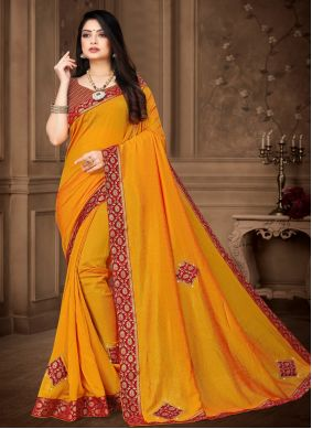 Yellow Lace Work Classic Saree For Festival