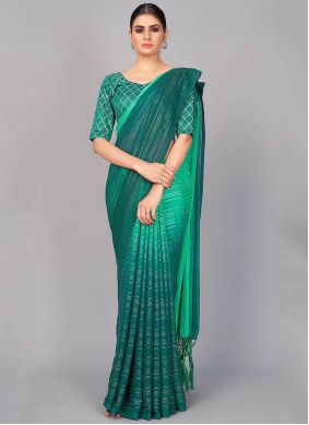 Green Silk Classic Saree For Party