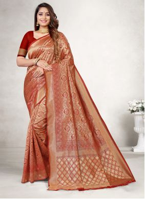 Red Jacquard Silk Classic Saree For Party
