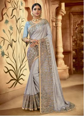 Grey Classic Saree For Wedding