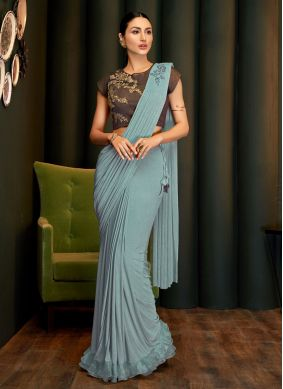 Classic Saree Handwork Lycra in Grey