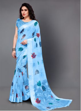 Classic Saree Printed Cotton in Aqua Blue