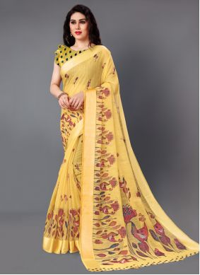 Classic Saree Printed Cotton in Yellow