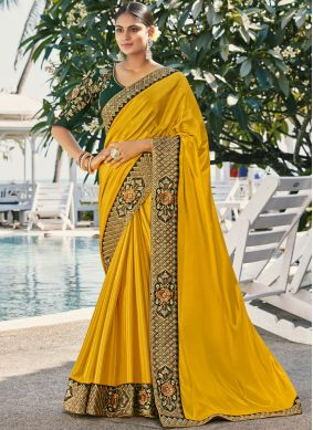 Classic Saree Thread Work Faux Georgette in Yellow