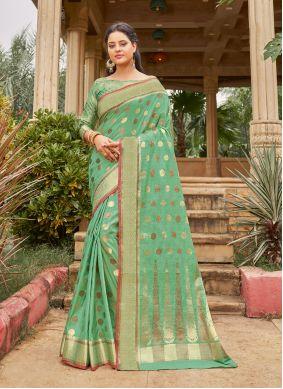 Classic Saree Weaving Handloom Cotton in Green