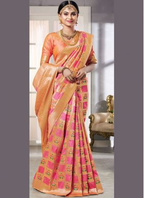 Classic Saree Zari Art Silk in Pink