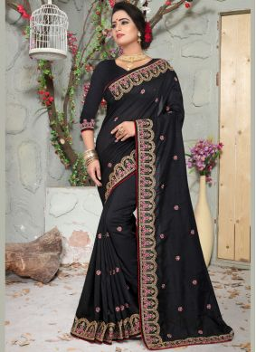 Classical Black Zari Art Silk Designer Traditional Saree