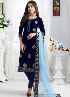 Classical Blue Churidar Designer Suit