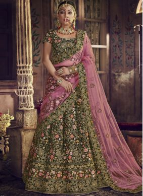 Classical Green Velvet Lehenga Choli