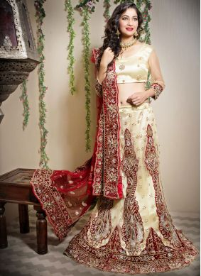 Classical Net Embroidered Cream Designer Lehenga Choli