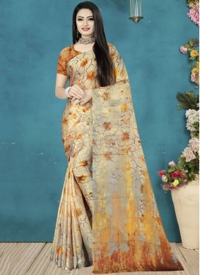 Classical Satin Silk Digital Print Traditional Saree