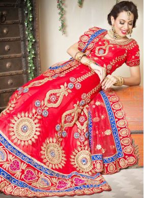 Classy Net Embroidered Red Designer Lehenga Choli