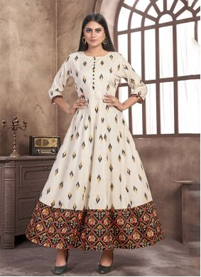 Satin Printed Party Wear Kurti in Off White