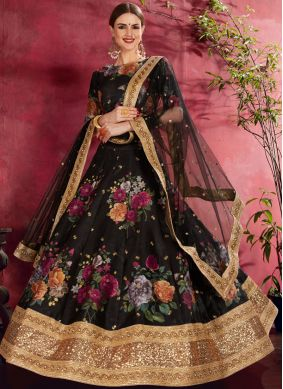 Compelling Banglori Silk Embroidered Black Lehenga Choli
