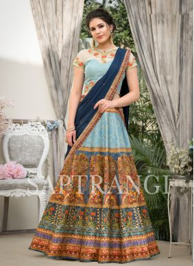 Compelling Fancy Fabric Blue Embroidered Lehenga Choli