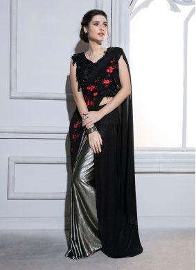 Compelling Fancy Fabric Resham Black Ruffle Saree