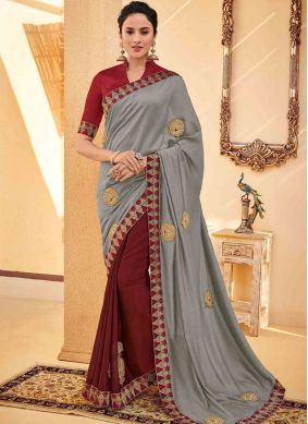 Compelling Grey Embroidered Poly Silk Traditional Saree
