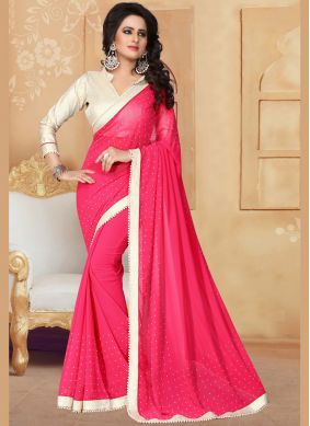 Compelling Patch Border Work Hot Pink Classic Saree