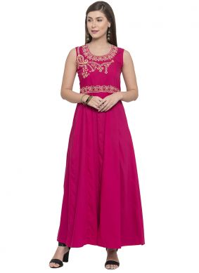 Compelling Pink Party Party Wear Kurti
