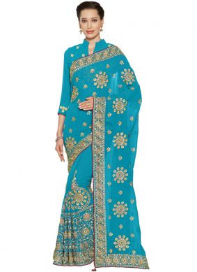 Compelling Turquoise Patch Border Classic Saree