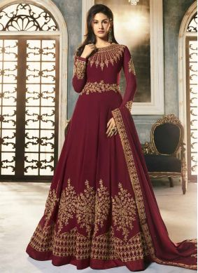 Competent Maroon Faux Georgette Floor Length Anarkali Suit
