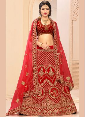 Competent Red Satin Silk Lehenga Choli