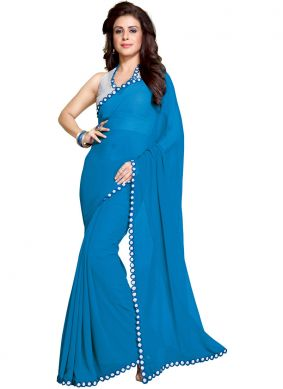Competent Turquoise Faux Georgette Saree
