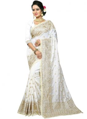 Competent White Embroidered Art Silk Traditional Designer Saree